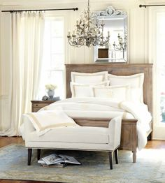Warm graywash bed with white linens