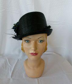 Edwardian WWI Era Black Straw Cloche Hat with by MyVintageHatShop, $91.00