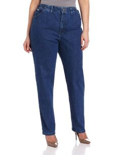 Lee Women's Plus-Size Relaxed Fit Side Elastic Tapered Leg Jean, Pepperstone Stretch, 24W Long