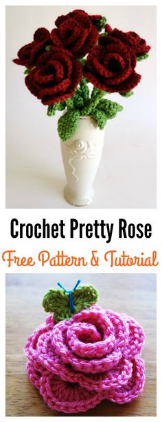 Crochet Pretty Rose Free Pattern and Photo Tutorial