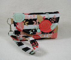 Snap Wristlet Smartphone Wristlet ... Coral and Mint Floral with Metallic Gold by Hot4Handbags