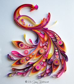 Another tribute peacock. Original design by Yulia Brodskaya. This is just my version to replace the first one I made that broke when the frame fell off the wall. Paper Quilling Cards, Paper Quilling Tutorial, Paper Quilling Flowers, Paper Quilling Patterns, Origami And Quilling, Quilled Paper Art, Paper Crafts Origami, Peacock Quilling, Quilling Work