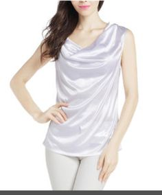 Women's Sexy Sleeveless Satin Cowl Neck Tank Top Price: $10.99 – $11.99 & Free Return on some sizes and colors