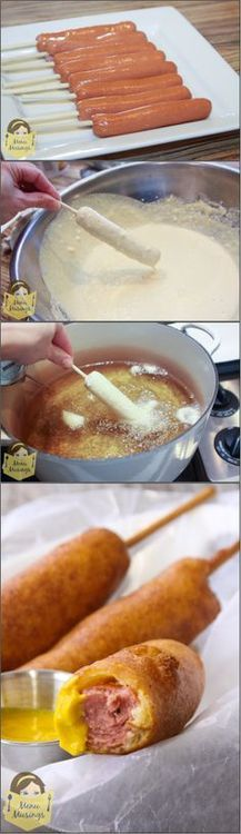 Homemade Corn Dogs – Step-by-step photo tutorial (linked to recipe) to making the classic kids' favorite fair food, all from simple pantry staples. Go with Applegate Hotdogs for nitrite/nitrate-free :).The kids are gonna love making these I Love Food, Good Food, Yummy Food, Kids Meals, Easy Meals, Great Recipes, Favorite Recipes, Corn Dogs, Snacks Für Party