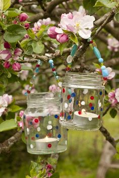 Jam Jar Lanterns!  No polka a dots but my jam jars will be getting upcycled this year.  Perfect for opening ritual and hanging up around camp.