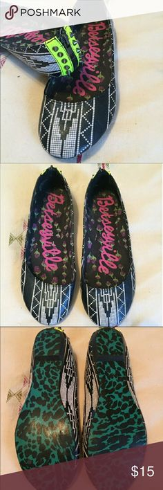 Bestyville Betsy Johnson tribal flats with spikes Re-posh because they are too big. True to size 8.5. Gently worn.  Great Condition Betsey Johnson Shoes Flats & Loafers
