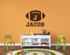 Personalized Football Name Decal - Sports Decor Kids Room Teen Name Vinyl Wall Decal Sports on Etsy, $24.00