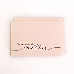 Wonderful Mother–Box Set You're a wonderful Mother Letterpress Mother's Day Card via Hairpin Letterpress Mothers In The Bible, Happy Mothers Day Letter, Mothers Day Cards, Birthday Cards For Mom, Mother Birthday Gifts, Mother's Day Gift Baskets, Addressing Envelopes, Gift Quotes, Letterpress Printing