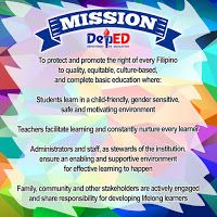 New DepEd Mission Tarp Design Credits to Towner Classroom Birthday, Classroom Bulletin Boards, Classroom Rules, Drug Free Posters, Success Poster, Healthy Habits For Kids, Elementary Bulletin Boards, School Border, Mission Vision