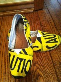 caution tape hand painted shoes