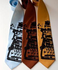 typewriter silkscreen ties