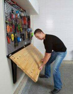 Note: A couple are good, the fold down workbench and the shoe storage w/ seating out in the garage bf you go into the house. 23 clever ways to unclutter your garage Garage House, Garage Shed, Garage Tools, Garage Bench, Car Garage, Mechanic Garage, Bar In Garage, Garage Closet, Garage Office