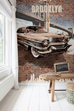 Brown American car digital photo wallpaper/fotobehang collection Lef - BN Wallcoverings www. Industrial, Steel Plate, Decorate Your Room, Colorful Wallpaper, Photo Wallpaper, Wall Spaces, Room Inspiration, Entryway Tables, Wall Decor