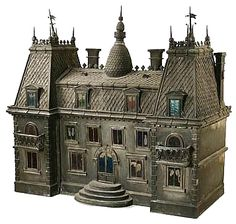 gothic doll house   Zinc Model of a Mansard Gothic Revival House, Late 19th C.