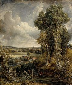 "The Vale of Dedham - John Constable (1828) 'Good painting needs to be brown, just like a violin' || John Constable (1776 – 1837), English Romantic painter. Born in Suffolk, he is known principally for his landscape paintings of Dedham Vale, the area surrounding his home—now known as ""Constable Country""—which he invested with an intensity of affection. ""I should paint my own places best"", he wrote to his friend John Fisher in 1821, ""painting is but another word for feeling""."