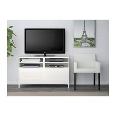 BESTÅ TV-állvány ajtókkal - fehér/Selsviken mfényű feh. - IKEA