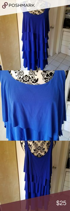 Fun and flirty tank dress Gorgeous shade of blue and has ruffled tiers. Perfect for summer! Dresses