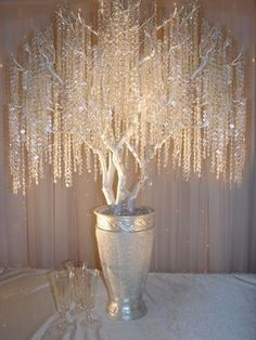 crystal tree Centerpieces. enchanted crystal forest wedding