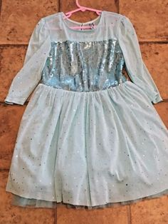 010339ff244f KNIT-WORKS-Girls-3-4-Sleeve-Blue-Sequin-Embellished-Dress-Size-8
