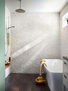 Emily Henderson Mountain Fixer Upper Rethink The Pebble Bathrooms free standing tub