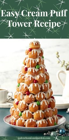 Easy Festive Cream Puff Tower Recipe