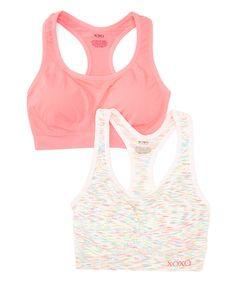 This XOXO White Coachella & Coachella Pink Sports Bra Set by XOXO is perfect! #zulilyfinds