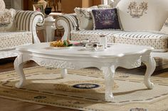 European style white long coffee table with carved patterns - MelodyHome.com