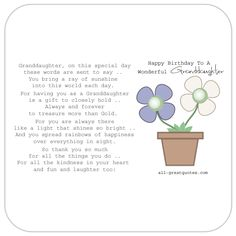 For my Beautiful Granddaughter Happy Birthday Card Daises are