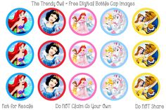Disney Princesses Retired images uploaded as freebies! Bottle Top Crafts, Bottle Cap Projects, Bottle Cap Art, Bottle Cap Images, Doilies, Disney Images, Disney Princess Party, Bow Accessories, Topper