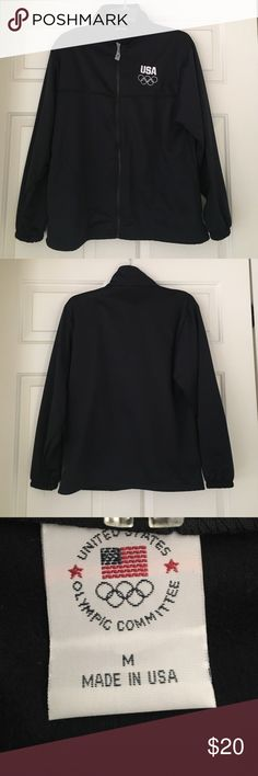 UNISEX Team USA Zip-Up Jacket Unisex Navy Team USA jacket with USA zipper. 100% polyester with fleece-like lining. Never worn. Jackets & Coats