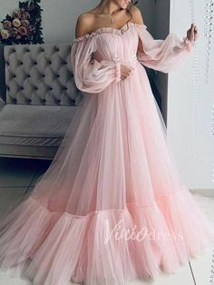 Pink Lace Off Shoulder Fluffy Tulle Grenadine Long Sleeve Prom Party Maxi Dress - Maxi Dresses - Dresses Robes Tutu, Maxi Robes, Pink Prom Dresses, Evening Dresses, Dresses Dresses, Dress Prom, Bride Dresses, Gown Dress, Pageant Dresses