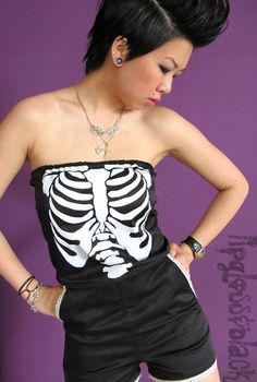 Black X-Ray Ribcage Romper