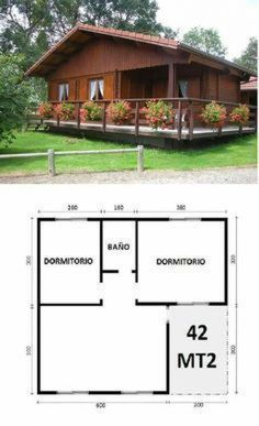 45 Ideas House Country Plans For 2019 Tiny House Cabin, Cabin Homes, Small House Plans, Log Homes, House Floor Plans, Bamboo House Design, Simple House Design, Tiny House Design, 2 Bedroom House Plans