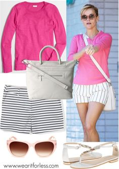 REESE WITHERSPOON in striped shorts and a pink sweater - awesome celebrity street style!