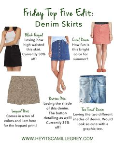 Friday Top Five Edit: Denim Skirts | Hey Its Camille Grey #denimskirts #topfive #weeklyfavs