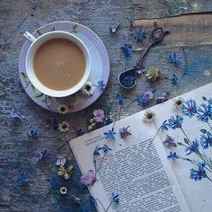 soulmate24.com Photo #book #flowers #mug #coffee #nature