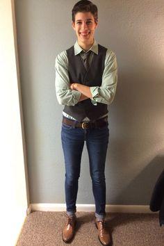 pale button down, dark grey vest, cuffed skinny jeans, brown belt + oxfords