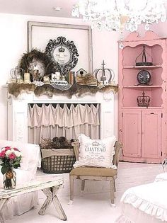 Love the fireplace and Shabby Chic Cupboard