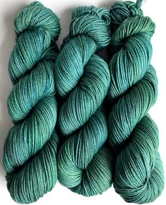 "Hand Dyed Yarn Teal Green Blue Merino Cashmere Silk Sportweight Yarn Superwash  300yds ""If A Teal Falls in the Forest..."""