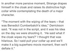 I laughed so hats cause all I could think was sherlock raising his collar to look cool <- i thought the same thing!