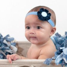 Navy Blue & Light Blue Kanzashi Fabric Flower-Available in 4 Styles