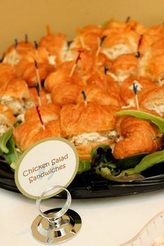 Baby shower food table - Chicken salad sandwiches on croissants I am pinning this because chicken salad with lettuce and avocado or curry chicken salad have been massive pregnant cravings for me! Baby Shower Snacks, Baby Shower Brunch, Baby Shower Table, Baby Shower Cakes, Bridal Shower Appetizers, Bridal Shower Menu, Shower Party, Bridal Showers, Baby Showers