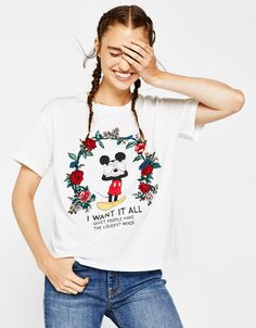 Mickey T-shirt with floral embroidery - CLOTHING - Bershka United States