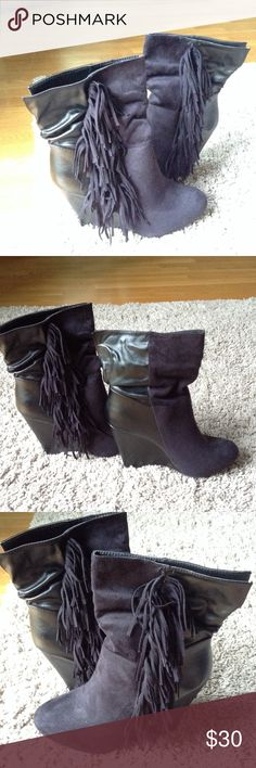 Black faux suede fringe booties Brand new never worn black faux suede fringe ankle booties fringe is in this season Charlotte Russe Shoes Ankle Boots & Booties