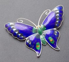 fabulous large j.atkins & sons silver and enamel butterfly brooch