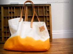 CANVAS TOTE BAGsunshine orange with leather by cocosheaven on Etsy. $59.00 USD, via Etsy.