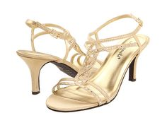 Ladies Gold Satin diamonte front strappy low heel evening wedding ...