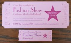 Fashion Show Ticket Invitation by threespokestudio on Etsy, $28.00