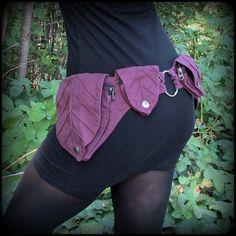 Purple Utility Belt Bag Leaf Pocket Belt, Zelda Burning Man Hip Bag,... ($52) ❤ liked on Polyvore featuring bags, canvas bags, fake leather bags, vegan bags, vegan leather bags and faux-leather bags