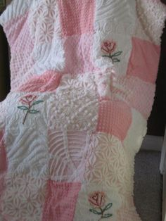 vintage chenille curtains | Vintage Chenille Patchwork Quilt Pinks with by CuddlyComforts